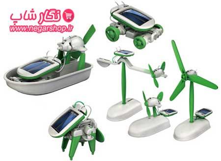 ربات خورشیدی , ربات خورشیدی 6 کاره , ربات اسباب بازی , ساخت ربات , کیت ربات خورشیدی