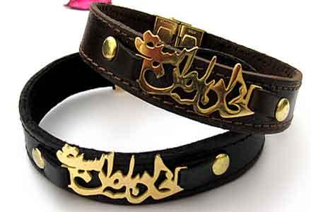 دستبند , دستبند چرم , دستبند چرمی , دستبند چرمی طرح دار