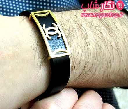 دستبند چرم , دستبند چرمی , دستبند چرم مردانه , دستبند چنل , دستبند چرم چنل