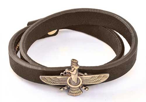 دستبند چرم طرح فروهر , دستبند چرم , دستبند طرح فروهر , دستبند چرم اسپرت