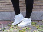 نیم بوت دخترانه بدون پاشنه آنجلینا رنگ سفید دارای لژ مخفی درون کفش بسیار شیک و زیبا