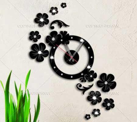 ساعت دیواری فانتزی , ساعت دیواری فانتزی طرح نسترن , ساعت دیواری فانتزی جدید , ساعت دیواری فانتزی طرح گل , ساعت دیواری , ساعت دیواری نگین دار