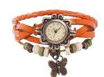 ساعت مچی الیزابت بند چرمی رنگ نارنجی با طرح بسیار متفاوت و زیبا و شیک