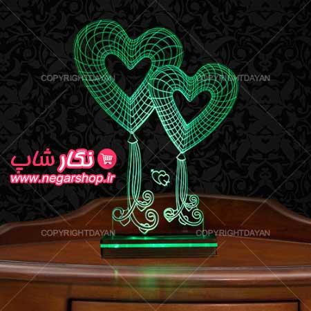 آباژور سه بعدی طرح قلب , آباژور سه بعدی , آباژور , آباژور مدرن , آباژور سه بعدی طرح تابان