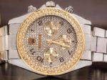 ساعت بند فلزی رولکس مدل Winner دارای نگین های درخشان بر روی قاب و صفحه