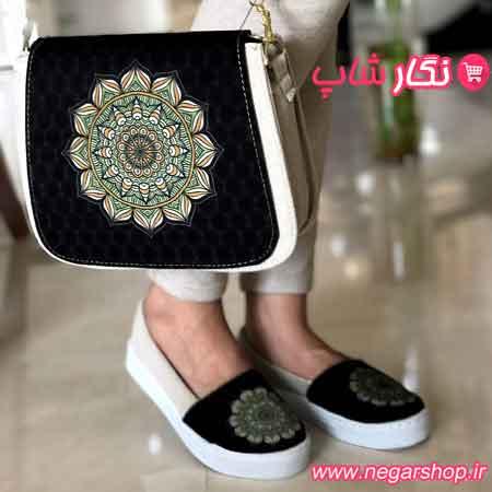 ست کیف و کفش طرح سنتی , ست کیف و کفش , ست کیف و کفش زنانه , ست کیف و کفش مجلسی
