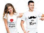 تیشرت ست زن و مرد مدل mr & mrs right دارای طرح سبیل و لب بر روی تیشرت