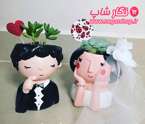 گلدان فانتزی رومیزی , گلدان فانتزی عروس داماد , گلدان عروسکی کاکتوس , گلدان فانتزی , گلدان فانتزی کاکتوس , گلدان فانتزی رومیزی , گلدان دکوراتیو , گلدان فانتزی کوچک