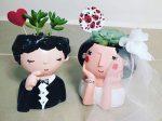 گلدان فانتزی رومیزی طرح عروس و داماد ضد آب و قابل شستوشو