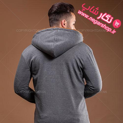 هودی مردانه بلند خزدار , هودی مردانه بلند خزدار Zima مدل T3899 , شنل خزدار مردانه , هودی پسرانه جلو باز , هودی کلاه دار مردانه , هودی نخی مردانه , هودی بلند مردانه , هودی خزدار مردانه