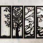 دیوار کوب چوبی طرح طبیعت شامل چهار تکه با امکان نصب با طرح دلخواه