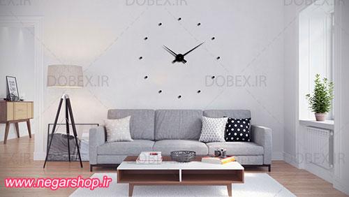 ساعت دیواری دات , ساعت دیواری طرح دات , ساعت دیواری تزئینی بزرگ , ساعت دیواری مشکی , ساعت دیواری دکوراتیو